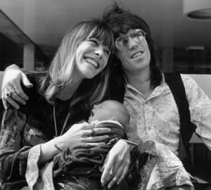 Anita Pallenberg and Keith Richards present their son Marlon to the world in 1969.