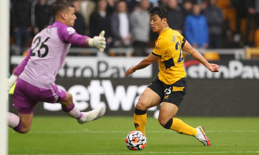 Hwang Hee-chan scores the opening goal for Wolves.