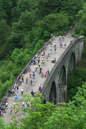 Riders traverse Headstone Viaduct on the Monsal Head Trail