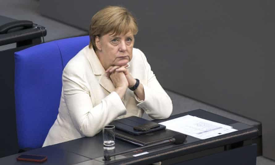 Chancellor Angela Merkel ponders the ramifications of Brexit in German parliament on 28 June.