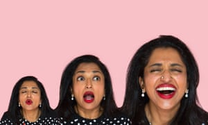 Three head shots of comedian Sindhu Vee against a pink background