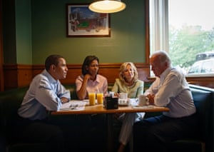 Boardman, Ohio. The Obamas share breakfast with Barack's running mate, Joe Biden, and his wife, Jill, while on a bus tour of the state