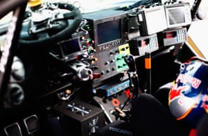 A view of the cockpit of the Peugeot 2008 DKR of Carlos Sainz and Lucas Cruz