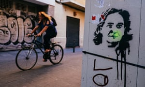A stencil of Mayor Ada Colau in the Gracia neighbourhood of Barcelona.