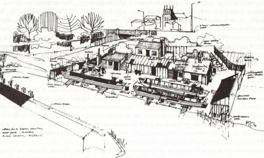 Peter White's drawing showing his scheme to create an authentic canal repair yard at the Black Country Museum in Dudley