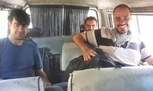 José Manuel López, left, Ángel Sastre, rear, and Antonio Pampliega, right, shortly after their arrival in Syria.