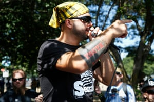 US Senate candidate Joey Gibson speaks at a rally in Portland, Oregon.