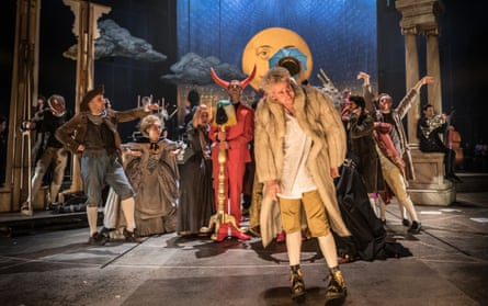 Adam Gillen as Mozart with players in Michael Longhurst's Amadeus at the National Theatre.