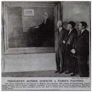 President's mother inspects a famous painting in the New York Times (16 May, 1934)