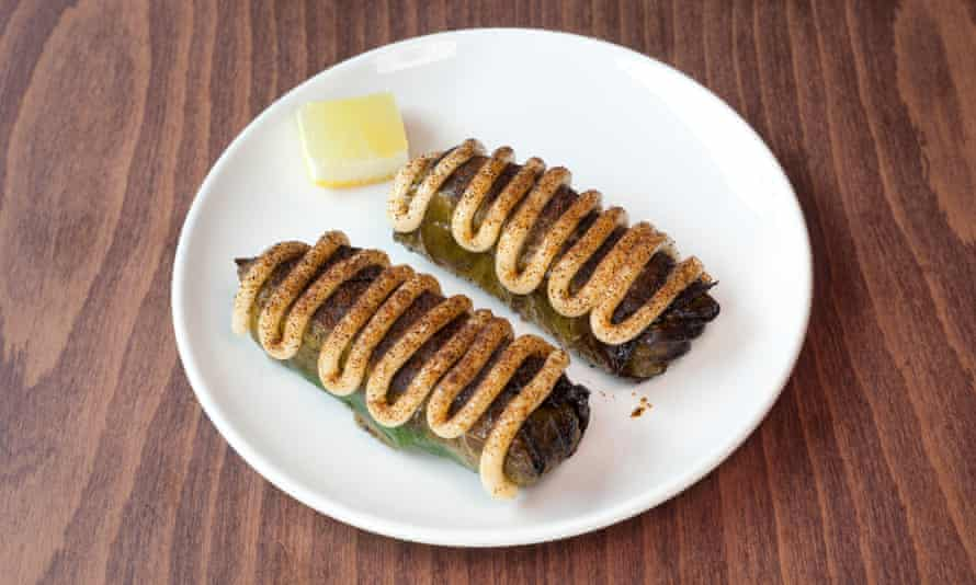 'Go faster stripes': vine leaves stuffed with crab meat with langoustine emulsion.