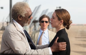Hall with Morgan Freeman (left) and Cillian Murphy in the 2014 film Transcendence