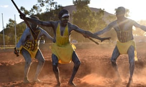 Dancers from East Arnhem Land at the opening ceremony for the National Indigenous constitutional convention in Mutitjulu, near Uluru, on 23 May.