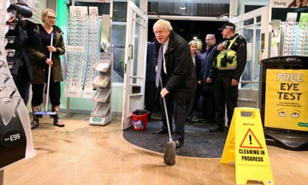 Prime minister Boris Johnson visits Matlock, Derbyshire, to view the flooding on 8 November 2019.