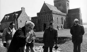 The production team in front of the abbey of Iona during filming for the original BBC series of Civilisation in 1969.