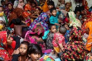 People shelter from Cyclone Amphan in Gabura, Bangladesh