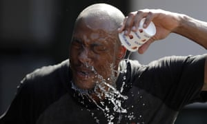 Baltimore Orioles outfielder Keon Broxton cools down during pre-game practice on Saturday
