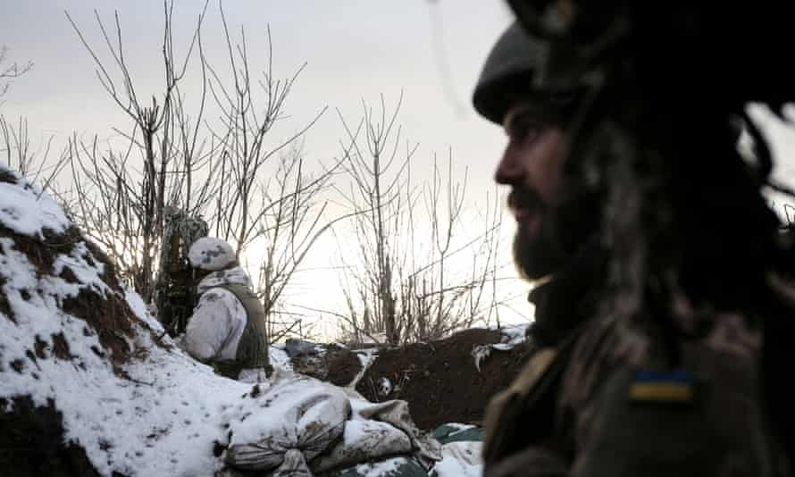 Ukrainian servicemen earlier this year on the frontline with Russian-backed separatists in Donetsk.