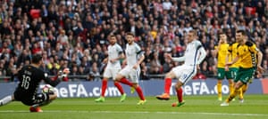 Vardy scores number two for England.