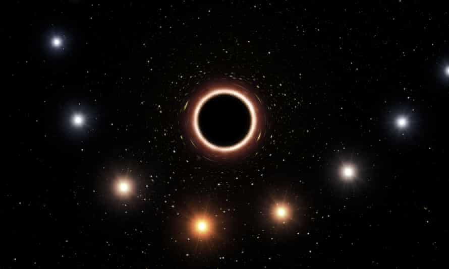 Artist's impression showing the path of the star S2 as it passes very close to the supermassive black hole at the centre of the Milky Way.