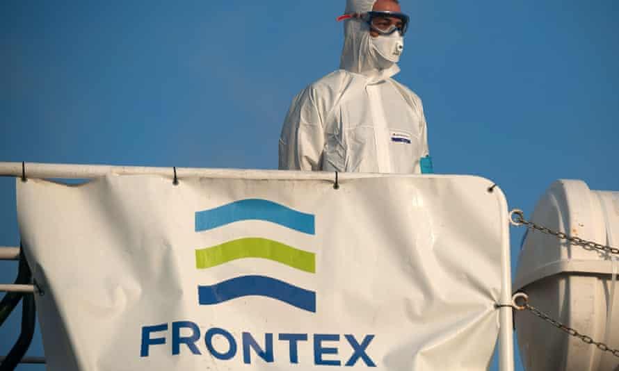 A member of Frontex on a patrol vessel