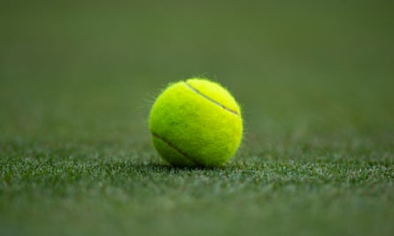 Tennis ball on lawn court
