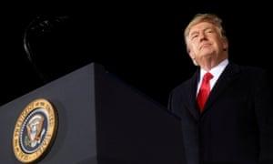 Donald Trump at a campaign rally in Dalton, Georgia, on 4 January 2021.