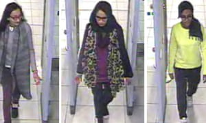 (From left) Kadiza Sultana, Shamima Begum and Amira Abase going through security at Gatwick airport in 2015.