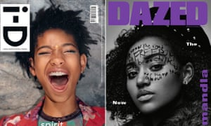 Composite of covers of i-D and Dazed magazine covers from September 2015 featuring Willow Smith and Amandla Stenberg.