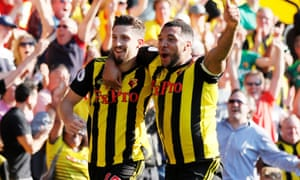 Watford's Craig Cathcart celebrates scoring their second goal with Troy Deeney.