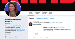 Julia Hartley-Brewer was using the #FBPE hashtag in early January.