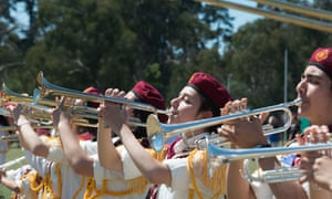 A Syrian marching band plays at this year's Eltham festival