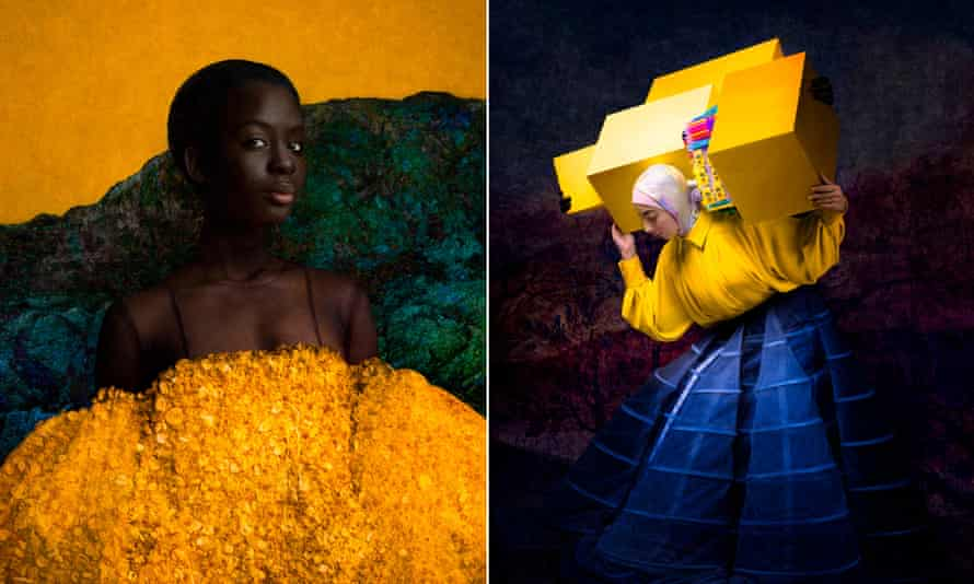 Two portraits by Cooper & Gorfer, left, Yellow Roseline, and, right, Israa With Yellow Boxes.