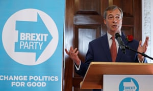 Nigel Farage at a Brexit party news conference.
