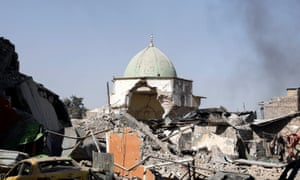The ruined Grand al-Nuri mosque after it was retaken by Iraqi forces.