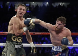 Alvarez connects with a big right hand.