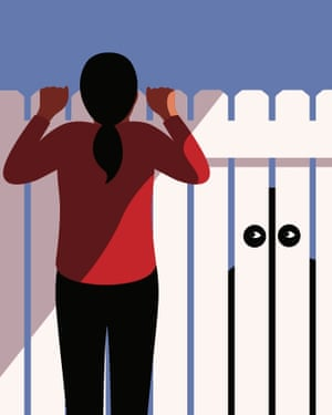 Woman looking over fence illustration