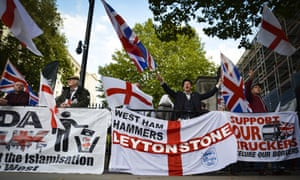 Pegida UK and English Defence League hold a joint anti-refugee protest