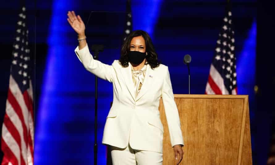 Kamala Harris on stage in Wilmington, Delaware.