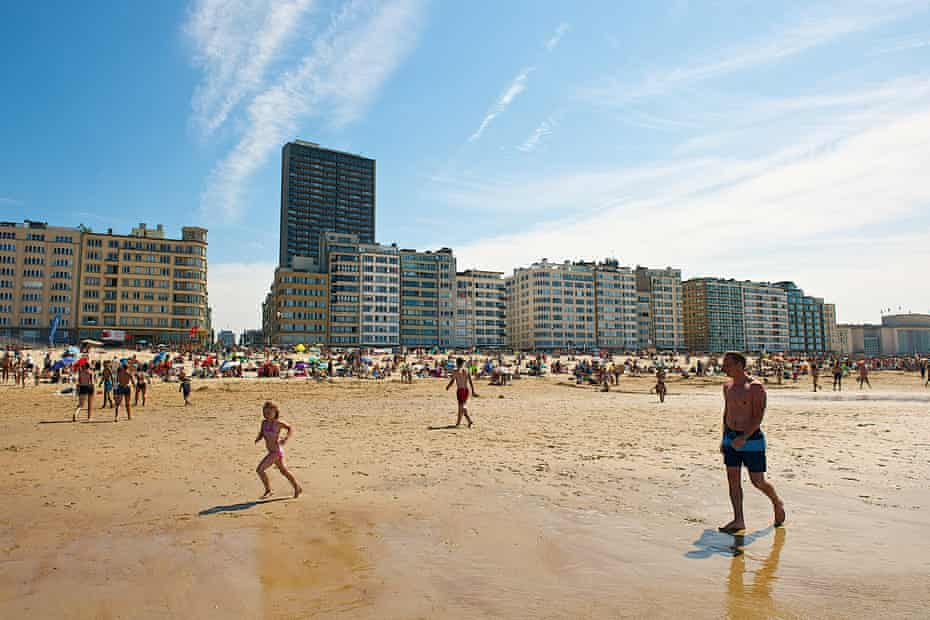 The beach in Ostend, Belgium. The popular coastal town is in the province of West Flanders.