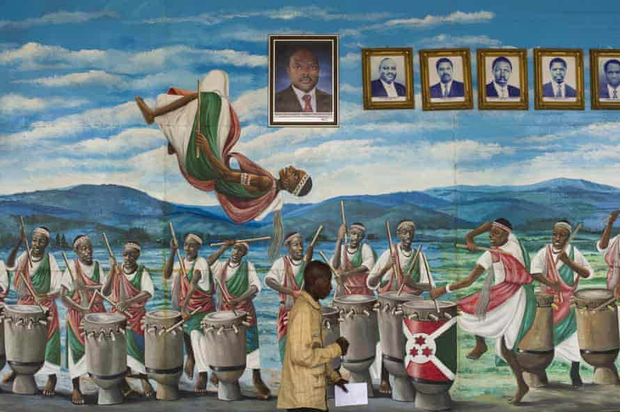 A mural showing drummers and dancers and portraits of Burundi's presidents in the capital Bujumbura.