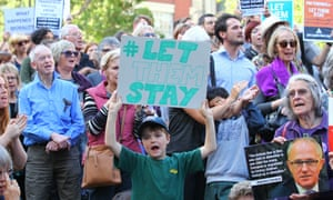 A #LetThemStay rally in Melbourne: protesters say the government should allow 267 asylum seekers to remain in Australia.