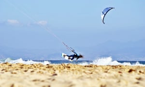 Kite jump, Los Lances Beach, Tarifa, Spain