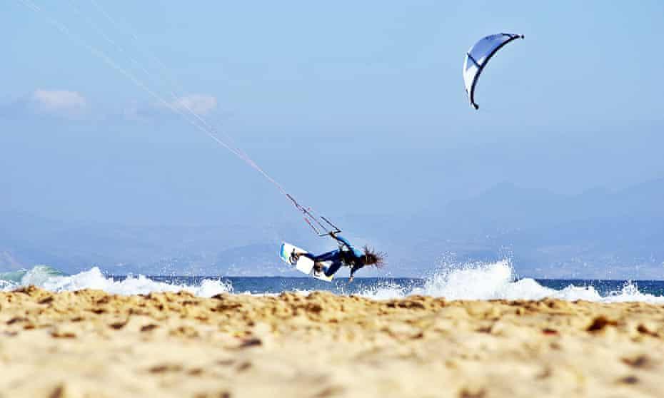Kite jump, Los Lances Beach, Tarifa, Spain