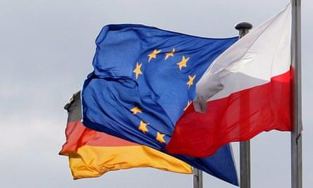EU, Polish and German flag