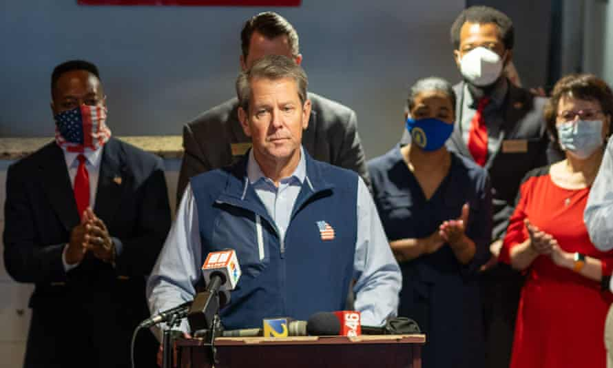 Brian Kemp holds a press conference at a restaurant in Roswell, Georgia.
