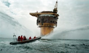 Greenpeace boat circles Brent Spar oil rig in the North Sea