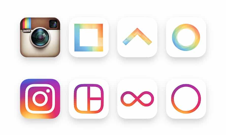 How the Instagram main logo and accompanying app logos have changed.