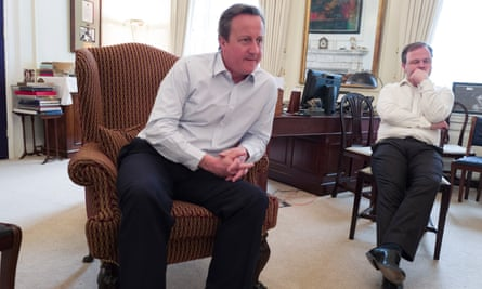 David Cameron (left) with Craig Oliver in Downing Street.