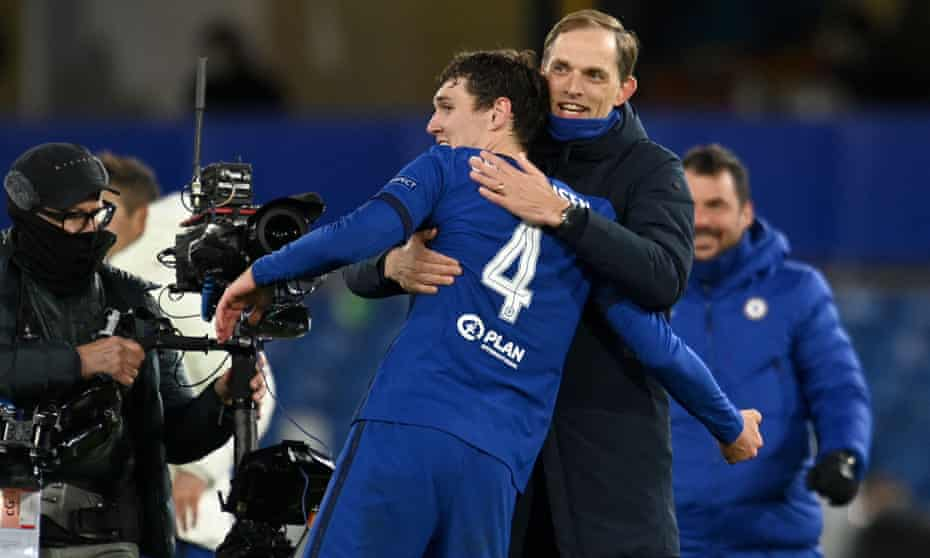 thomas tuchel celebrates with andreas christensen after chelsea reached the champions league final.