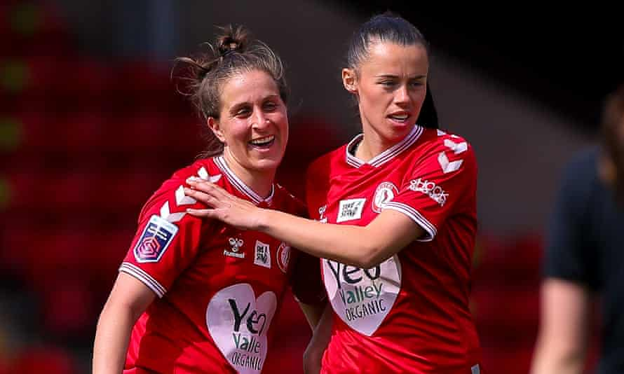 Bristol City's Ella Mastrantonio celebrates a vital point against Aston Villa with Laura Rafferty